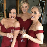 Burgundy Off Shoulder Long Mermaid Cheap Satin Bridesmaid Dresses Online, QB0022