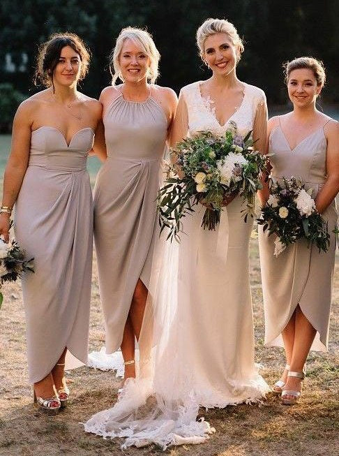 Mismatched Sheath Sweetheart Wine Chiffon Bridesmaid Dresses with Split, QB0628