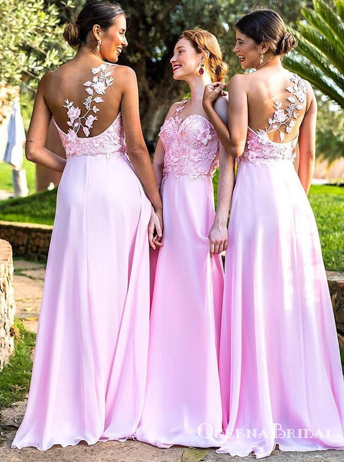 A-Line Illusion Round Neck Pink Chiffon Bridesmaid Dresses with Appliques, QB0629