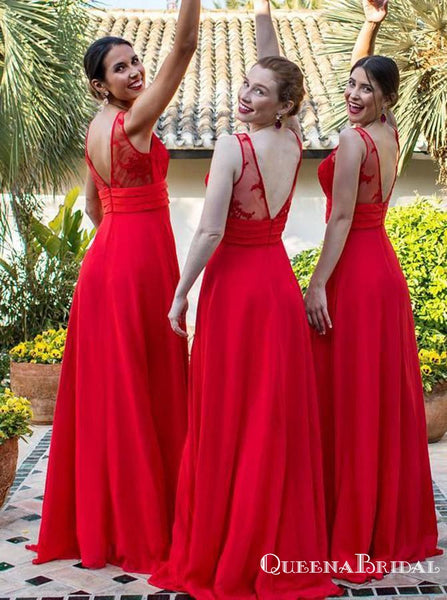 A-Line V-Neck Red Chiffon Long Cheap Bridesmaid Dresses with Applique, QB0847