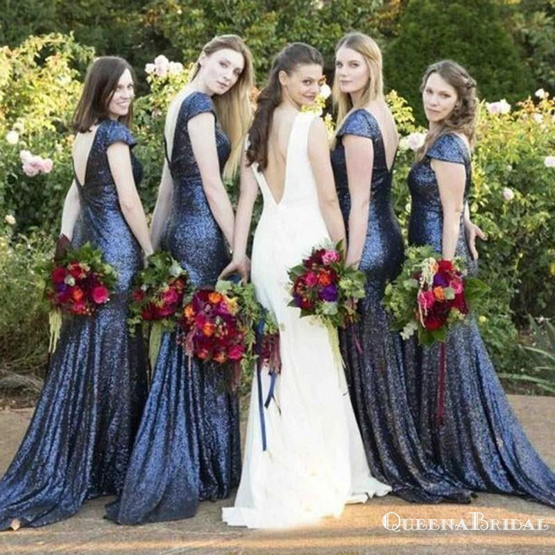 Mermaid Round Neck Backless Dark Blue Sequined Bridesmaid Dresses, QB0802