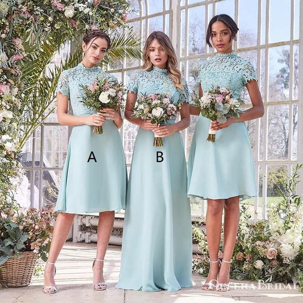 A-Line High Neck Short Sleeves Mint Bridesmaid Dresses with Lace, QB0806