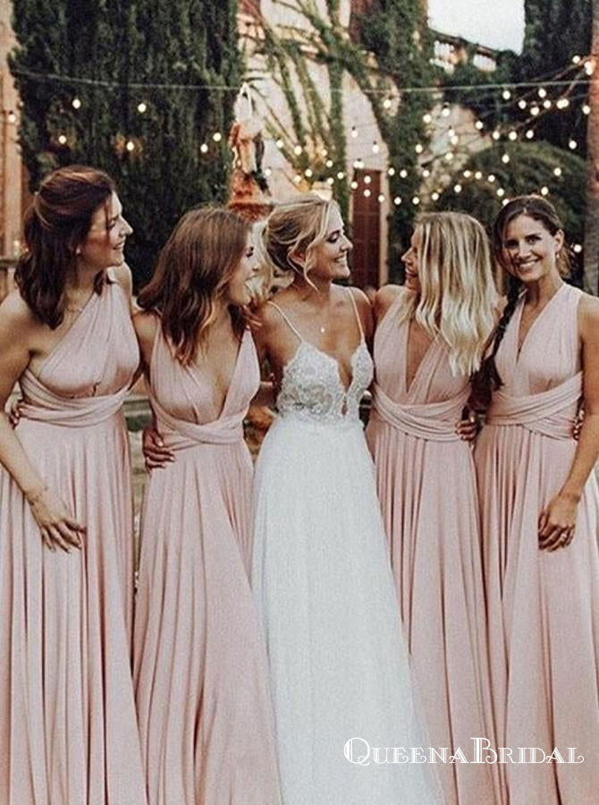 A-Line One-Shoulder Convertible Style Pink Jersey Long Bridesmaid Dresses, QB0626