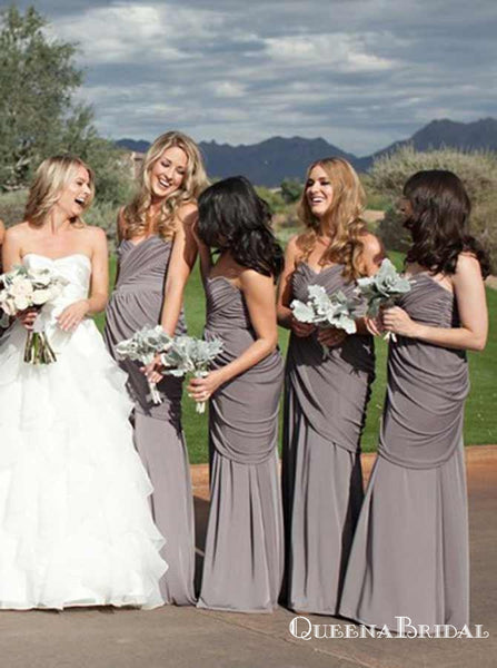 Mermaid Sweetheart Ruched Grey Elastic Satin Long Bridesmaid Dresses, QB0843