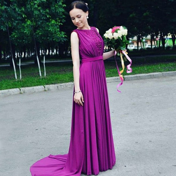 Elegant Round Neck Long Cheap Purple Bridesmaid Dresses Online, QB0207