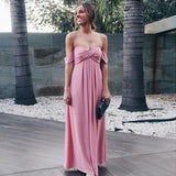 Sexy Off-Shoulder Long Cheap Pink Chiffon Bridesmaid Dresses Online, QB0208