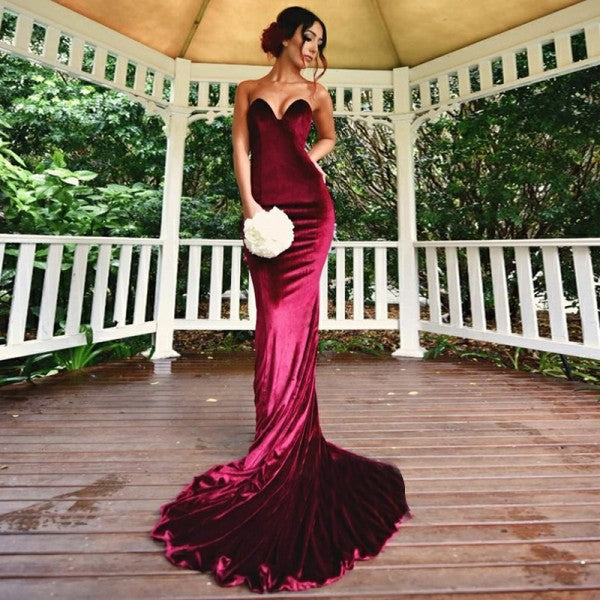 Mermaid Sweetheart Long Cheap Velvet Bridesmaid Dresses Online, QB0209