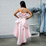 Unique Strapless High Low Pink Satin Short Cheap Bridesmaid Dresses with Bow Ruffles, QB0011