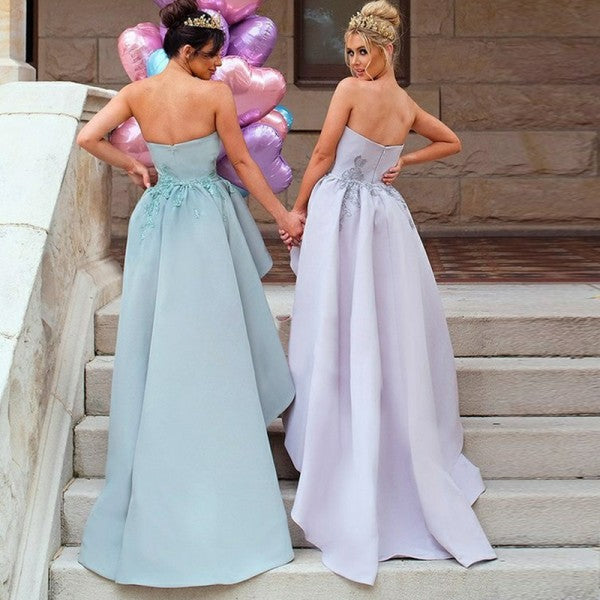 753aa3319f4 Unique Mermaid Strapless Mint Long Cheap Bridesmaid Dresses with Appliques