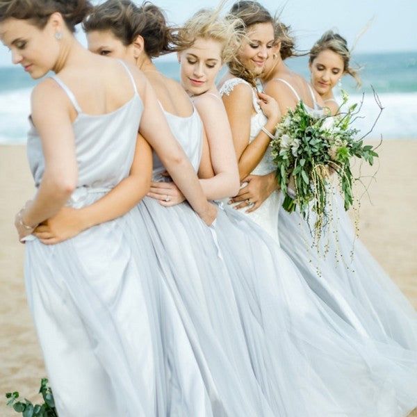 A-Line Spaghetti Straps Long Grey Tulle Cheap Bridesmaid Dresses Online, QB0015