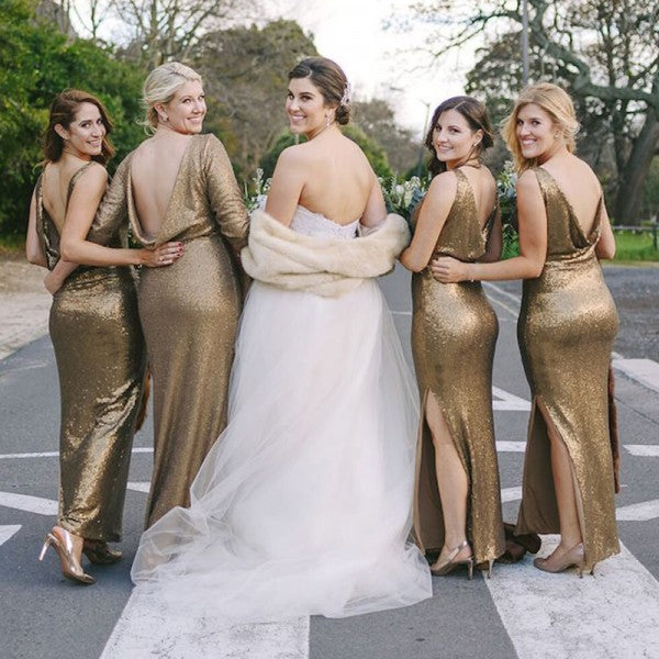 Mismatched Mermaid V-Neck Side Slit Backless Gold Sequined Bridesmaid Dresses Online, QB0016