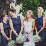 Mermaid Round Neck Side Split Dark Blue Sequin Long Cheap Bridesmaid Dresses Online, QB0036