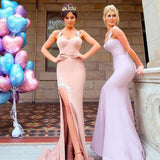 Mermaid Spaghetti Straps Pink Satin Long Cheap Bridesmaid Dresses with Lace, QB0026
