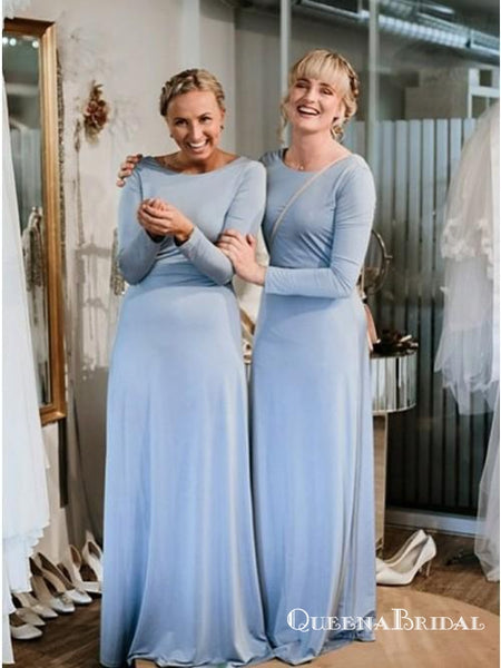 Light Blue Long Sleeve Round Neck Long Cheap Jersey Bridesmaid Dresses, QB0622