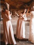 Pink Spaghetti Strap Off Shoulder Long Cheap Bridesmaid Dresses, QB0624