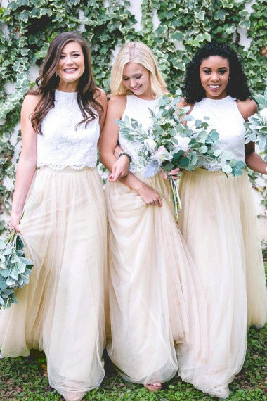Two Piece Jewel Keyhole Back Light Champagne Tulle Bridesmaid Dresses with Lace, QB0809
