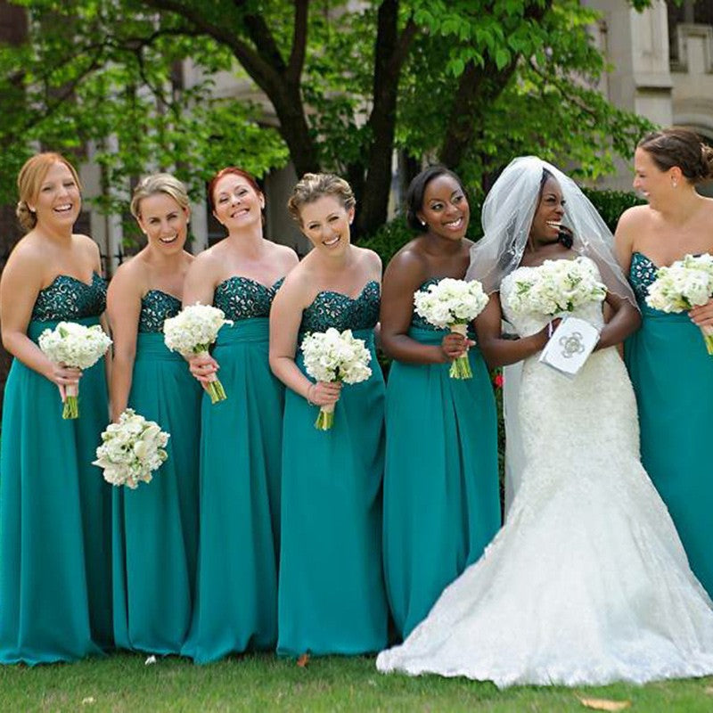A-Line Sweetheart Long Turquoise Bridesmaid Dresses with Beading, QB0489