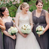 2019 A-Line Mismatched Long Dark Grey Tulle Bridesmaid Dresses, QB0485