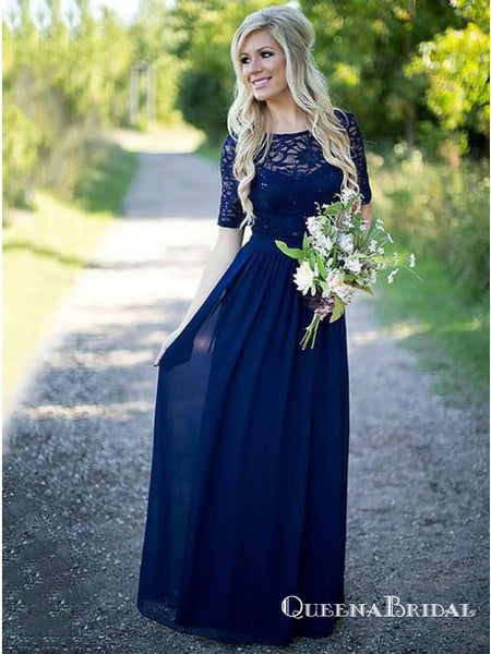A-Line Scoop Neck Blue Floor Length Bridesmaid Dresses with Half Sleeve, QB0723