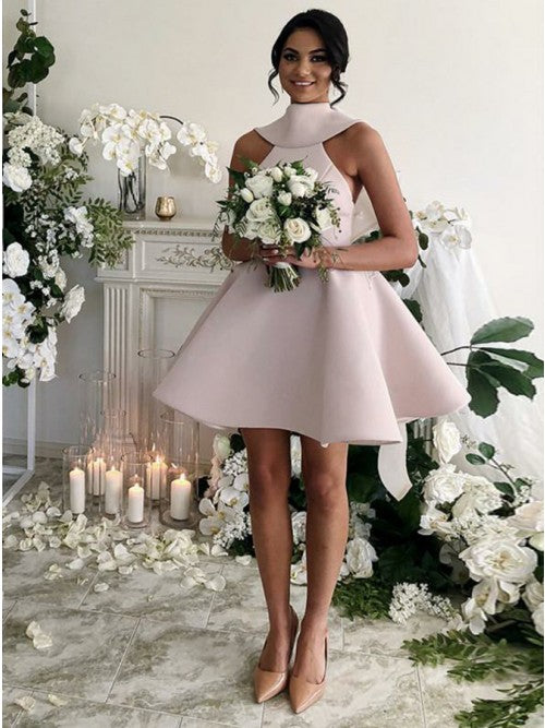 Fancy Jewel Sleeveless Short Pink Bridesmaid Dresses with Bow Knot, QB0642