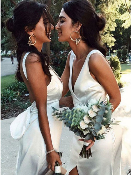 Charming Mermaid White V-neck Split Backless Bridesmaid Dresses, QB0643