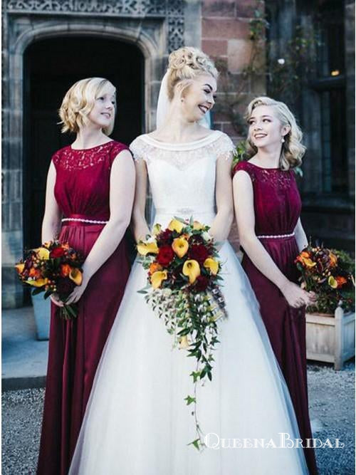A-line Jewel Burgundy Cap Sleeves Bridesmaid Dresses Appliques Beading, QB0644