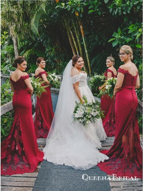 Mermaid Off Shoulder Dark Red Mermaid Bridesmaid Dresses with Appliques, QB0645