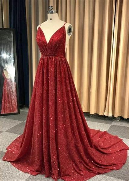 Burgundy V Neck Sleeveless Sequin Long Cheap Backless Prom Dresses, QB0759