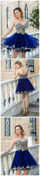 Sweetheart Gold Lace Beaded Blue Short Cheap Homecoming Dresses Online, CM569
