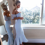 Off Shoulder Short Sleeve Mermaid Silver Bridesmaid Dresses, WG230