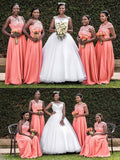 Peach Mismatched Lace Bodice Long Chiffon Cheap Bridesmaid Dresses Online, WG281