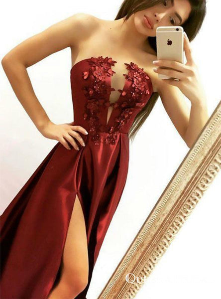 Sexy Burgundy Satin Strapless Appliques Prom Dresses With Side Split, QB0713