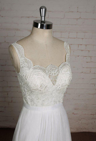Lace Straps See Through Lace A-line Cheap Dresses For Wedding, WD399