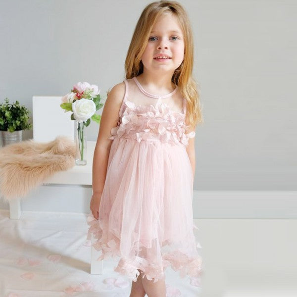 95b48c2bfe Cute Round Neck Pink Tulle Cheap Flower Girl Dresses with Appliques ...