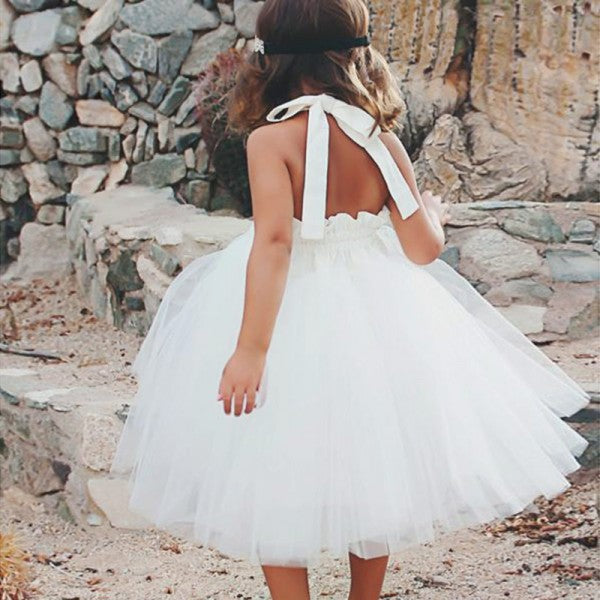 Lovely Ball Gown Halter Backless White Long Cheap Tulle Flower Girl Dresses, QB0094