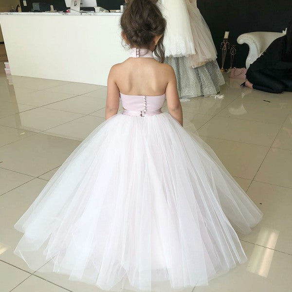 Two Piece Ball Gown Halter Blush Pink Flower Girl Dresses with Appliques, QB0228