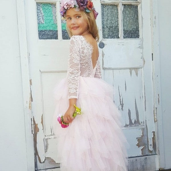 Cute Round Neck Backless Asymmetry Blush Pink Flower Girl Dresses with Lace, QB0088
