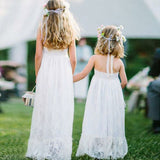 Simple Halter Sleeveless Backless White Lace Flower Girl Dresses, QB0227