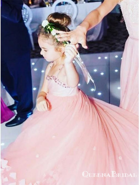 A-Line Spaghetti Straps Pink Floor Length Flower Girl Dresses with Flower, QB0821
