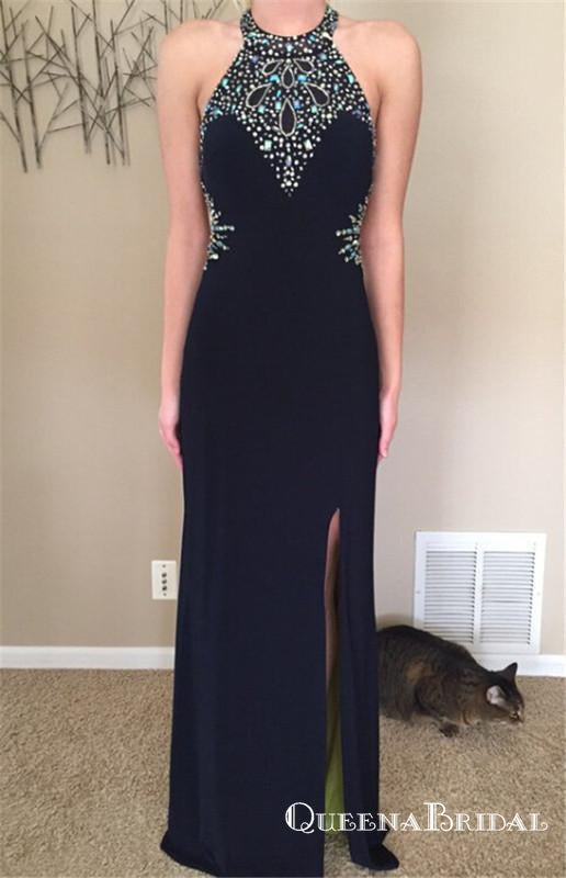 Black Halter Long Cheap  Beaded Prom Dresses With Side Slit, QB0657