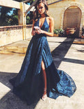 Beautiful A Line Navy Blue V Neck Split Front Long Prom Dresses, QB0752