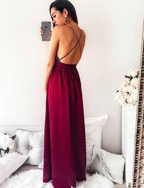 Sexy Backless Sequin Dark Red Cheap Long Evening Prom Dresses, QB0378