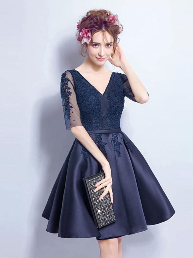 Cheap Short Cute Long Sleeve Lace Navy Homecoming Dresses 2018, CM468