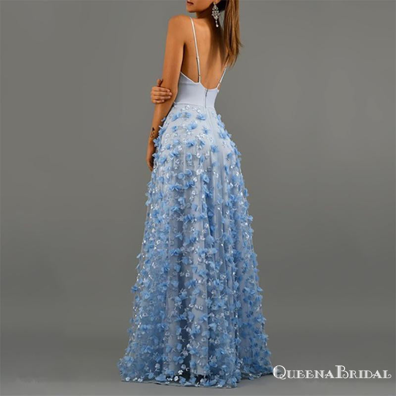 Spaghetti Straps V-neck Blue Lace New Arrival Hot Selling A-line Long Cheap Evening Prom Dresses, QB0979
