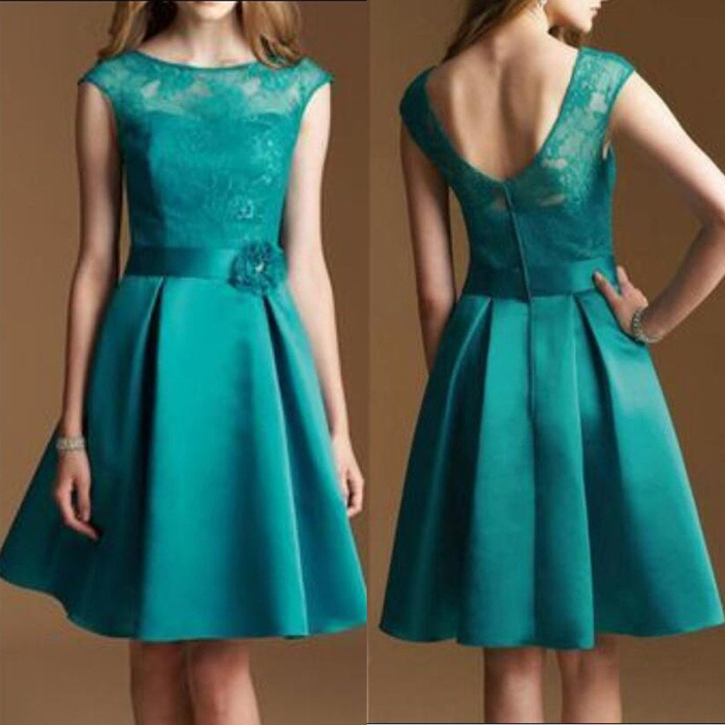 Junior Cap Sleeve Lace Top Satin Teal Green Knee-Length Inexpensive Bridesmaid Dresses, WG37