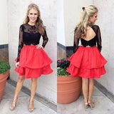 Long Sleeve Black Lace Red Skirt Two Piece Homecoming Dresses 2018, CM477