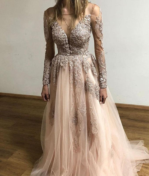 Popular Charming Custom Long Sleeves Lace Cheap Long Evening Prom Dresses, QB0365