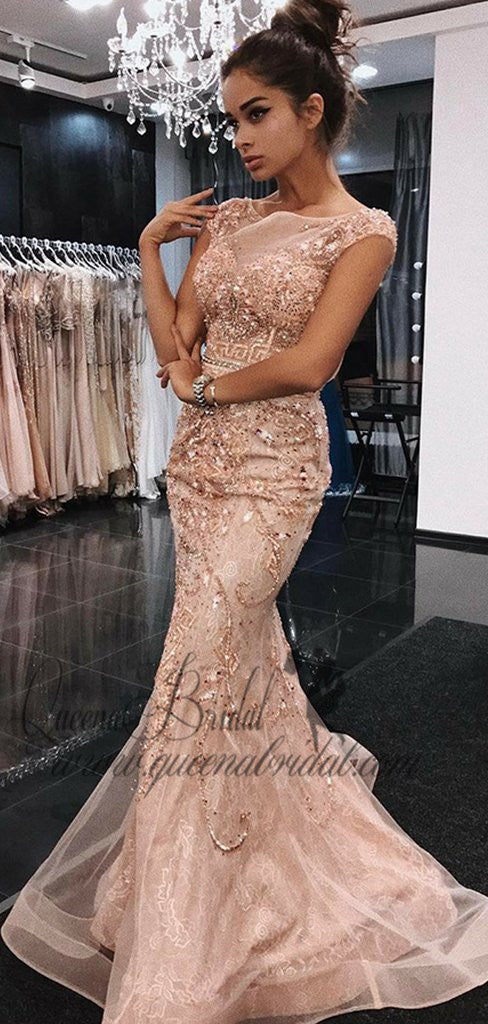 Peach Cap Sleeves Mermaid Rhinestone Long Evening Prom Dresses, QB0430