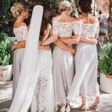 Tight Off-Shoulder Asymmetrical Lavender Bridesmaid Dresses Online, QB0131