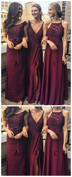Dark Red Mimsatched Cheap Long Bridesmaid Dresses Online, WG203